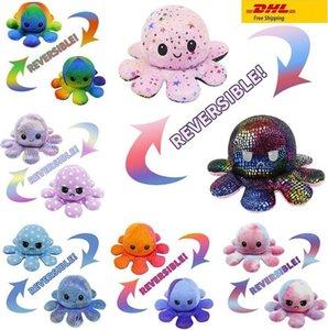 DHL-Versand! Heiße reversible Flip Octopus gefüllte Puppen weiche doppelseitige Expression Plüschtier Baby Kinder Geschenk Puppe Neujahr Festival Partei liefert