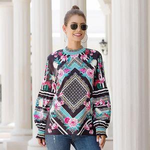Elegant Floral Womens Blouses Print Blouse Shirts Women Casual Plus Size Stand Collar Long Lantern Sleeve Chic Vintage Bluse Bohemia
