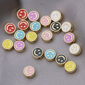 50PCS Gold Color Enamel Smile Face Loose Spacer Metals Beads for Jewelry Making Bracelet DIY Accessories Craft Necklace Findings 8mm