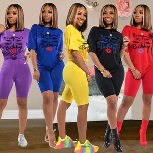 Summer Two Piece Biker Shorts Womens Tracksuits Sets T Shirts Top Biker Jogger 2 Casual Active Print Outfits