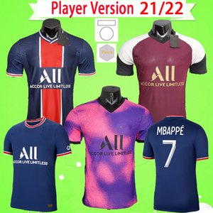 Maillot de foot Player version 2021 2022 soccer jersey paris fourth pink third purple home away blue white 21 22 MBAPPE football shirt top quality
