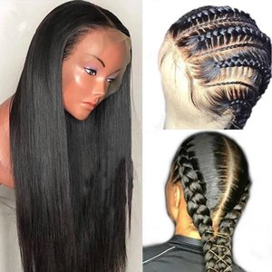 HD full lace human hair wig 13x4 pre plucked transparent braid straight frontal natural hairline 180%density for black women