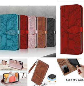 Emboss Tree Premium PU Leather Cases For Iphone 12 Mini 11 Pro Max X XS XR SE2 7 Plus 8 6 6S Wallet Flip Folio Wrist Strap Stand Card Magnetic Phone Cover
