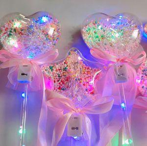 Prenses Işık-up Sihirli Top Değnek Glow Sopa Cadı Sihirbazı LED Sihirli Değnekleri Cadılar Bayramı Chrismas Parti Rave Oyuncak Büyük Hediye AHB6206