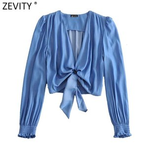 Zevity women vintage V Neck long sleeve hem knotted casual short smock chic blouse ladies retro crop femininas shirt tops LS6995
