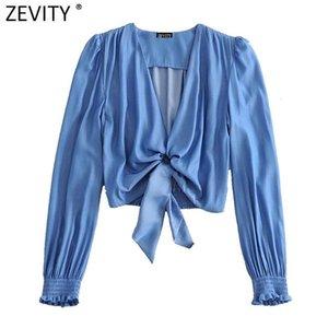 Zevity women vintage V Neck long sleeve hem knotted casual short smock chic blouse ladies retro crop femininas shirt tops LS6995