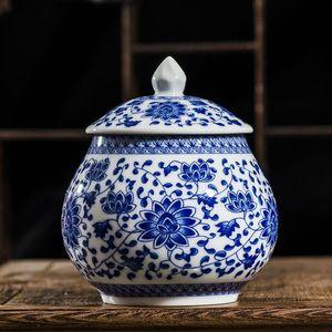 Вазы Традиционный китайский стиль Classic Jingdezhen 250GTea Caddy Box белый и синий фарфор герметичный чайный банку хранения канистра