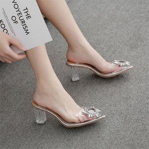2020 Fresco PVC claro transparente fetiche diseño de lujo mujer extremo mulas super altas tacones mujeres diseñador zapatos sexy zapatos para mujer bombas sandalias