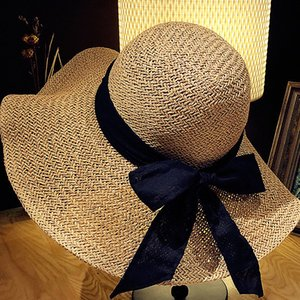 Bowknot Vacation Straw Sun Hats Women Solid Color Beach Hat Fashion Outdoor Travel Wide Brim Cap
