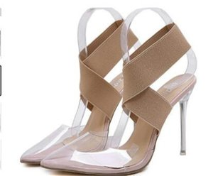 Plus size 35 to 40 41 42 elastic band cross strap nude transparent PVC clear high heels luxury women designer shoes Come With Box