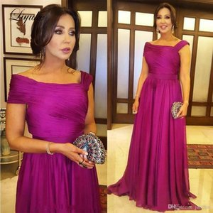 A Line Fuchsia Mother Of Bride Dresses Pleat Off the Shoulder Backless Floor Length Wedding Party Guest Evening Prom Gown Plus Size