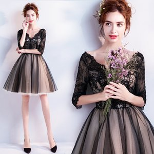 Lace Black Tulle Long sleeve Evening prom Dresses Tea Length 2021 Half Sleeves paragraph Formal Elegant Party Custom Made