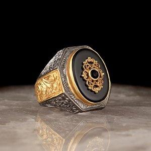 Кольцо стерлингового серебра для мужчин Реал Оникс Камень Ювелирные Изделия Мода Винтаж Подарок AQEQ Мужские Кольца Все Размер кластера