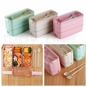 Lunch Box 3 Grid Wheat Straw Bento Transparent Lid Food Container For Work Travel Portable Student Lunch Boxes Containers RRA4404