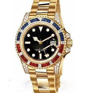 Лучшие Лурры Мужские Часы Большое Алмазное Золотое лицо Полная Нержавеющая Сталь Оригинальный Ремешок Автоматическое движение