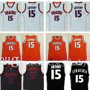 15 Camerlo Anthony Jersey College NCAA Men Syracuse 오렌지 농구 유니폼 스포츠 팬들을위한 자수 검정색 흰색