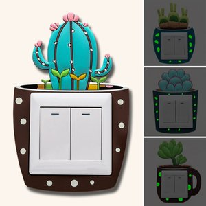Luminous Cartoon Plant Home Light Switch Cover Room Decor 3D Silicone Outlet Wall Sticker Switches Stickers