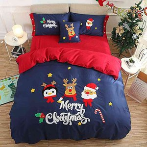 3 4 6 Pcs Twin Queen King size Red Blue Christmas New Year Bedding Adults Kids Duvet cover Bed sheet set Pillowcase Gifts