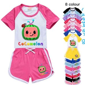 Cocomelon Cartoon Printed Kids Summer Tracksuit Short Sleeve +Shorts Two-piece Suits Clothing Candy Colors Casual Outfits Clothes GG496FSR