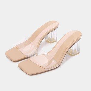 Yaz 2021 PVC Şeffaf Yüksek Topuklu Kare Ayak Peep-Toe Kalın Topuk Sandalet Tanrıçası Seksi Kadınlar