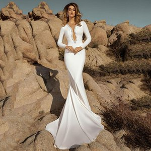 Smileven Mermaid Beach платья 2020 с длинным рукавом BOHO BOHO BRIDAL Illusion Back свадебные платья плюс размер
