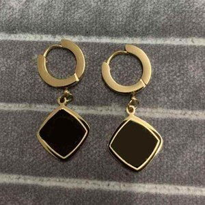 Never Fading Classic Design Square Pendant Studs Gold Colors Stainless Steel Earrings Fashion Hip Hop Hoops Women Jewelry Wholesale