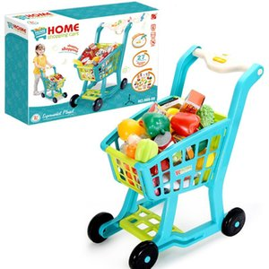 Kitchen Toy Shopping Cart Set Pretend Play House Plastic Cutting Simulation Fruit Vegetables Mini Food Girls Boys Educational Gifts