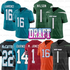16 Trevor Lawrence 1 Zach Wilson Mac Jones Football Jerseys 14 Sam Darnold 15 Gardner Minsheu II Christian McCaffrey