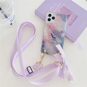 Cajas lindas de la correa de la cruz de la cruz del hombro del brillo de los cascos de mármol para iPhone 12 Mini 11 PRO XS MAX XR X 7 8 PLUS SE2 CUBIERTA CADRADOR