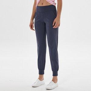Женская йога черные леггинсы тренировки Высокий талийский тренажерный зал Выровняйте карманные две стороны бегущие спортивные брюки высокого качества