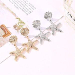 Stud Earring Women Shell Earrings Woman Geometric Ladies Fashion Starfish Jewelry Lady Korean Silver Color Trendy Alloy Kolczyki