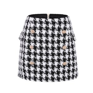 UKCNSEP New Fashion Runway Skirt Women's Fringed Lion Buttons Houndstooth Tweed Mini Skirt 210412