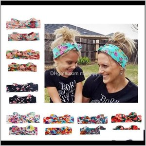 7 Color Mom And Child Hairband Rabbit Ear Headband Flower Printed Band Family Hair Accessories Khccc Rtw2H