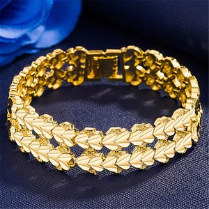 double heart 24k gold plate Link Chain bracelets JSGB0016 fashion gift yellow gold plated bracelet