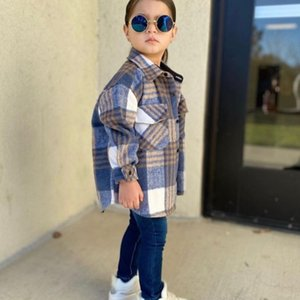 Fashion Girl Boy Plaid Jacket Cotton Child Shirt Thick Wool Loose Outfit Winter Spring Fall Baby Casual Clothes 3-14Y 210331