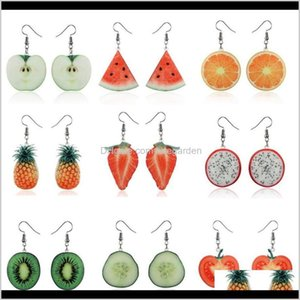 Cuff Fashion Girls Creativity Fruits Print Pattern Acrylic Acetic Acid Sheet Geometric Circle Square Long Drop Earrings Ear Stud For 8 Mkljm