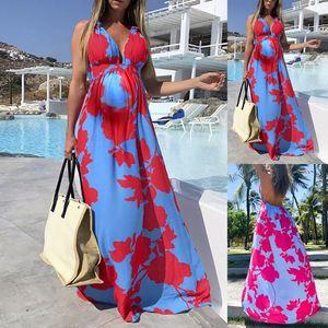 Женское летнее платье для беременных 2021 мода женский повседневный пляж плюс размер длинный печать V-образным вырезом без рукавов без рукавов без рукавов Femme платья одежды