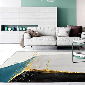 Carpets Area Rug For Living Room Abstract Landscape Gold Line Pattern Thick Carpet Bedroom Floor Mat 100% Polyester