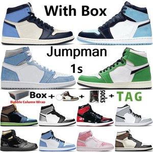 2021 с коробкой jumpman 1 og 1s мужская баскетбольная обувь electro оранжевый обсидиан unc hyper королевский университет синий счастливый зеленый зеленый патентные женщины кроссовки кроссовки размером 36-46