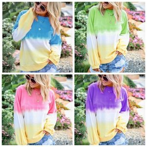Women tie dye pullover shirt long sleeve loose o-neck body print fashion sweatshirt Autumn Tie dye blouses tunic big size 5xl
