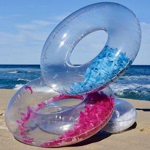 해변 수영 서클 플로트 Gonfiabili 물 풀 파티 풍선 수영 반지 아기 둥근 깃털 장식 조각 반지