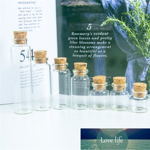 50pcs Small Empty Clear Glass Container with Cork Mini Information Aspirations Bottles Refillable Jars Craft Vials