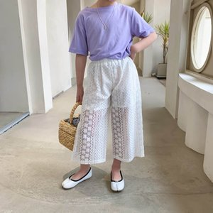 Girls Trousers Fashion Cotton Kids Long Pants Child Clothing Summer Lace Loose Baby Wear 2-6Y B4947