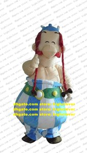 Smart Obelix Lion King Mascot Costume Mascotte Adult Size With Big Round Tummy Green Belt Black Shoes Smile No.4300 Free Ship
