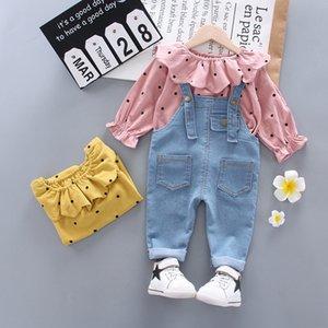 2021 Autumn Spring Children Fashion Garment Suit Kids Dot Girls Cotton T Shirt Bib Pants 2Pcs sets Baby Casual Clothes 1-4 Years X0401