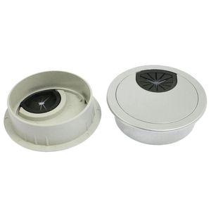 Acessórios para móveis 2 pcs redondo Tom de prata plástico mesa de mesa ilhas furo de cabo cobre 58mm