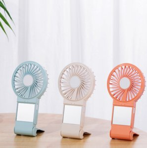 Desktop Portable USB gadgets rechargeable mini fan with phone holder makeup mirror summer cool travel Hand Held stand Fans