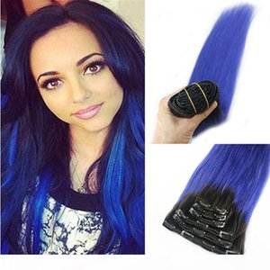 Clip in Remy Hair extensions Ombre 1B to Blue Balayage Clip in Human Hair Extensions Double Weft Hair Extensions Straight 7pcs 120g