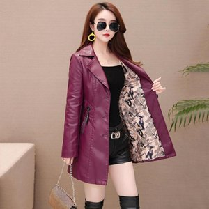 autumn New girl Leather Jacket Long Women's Leather Coat slim Fashion punk Female Motorcycle Clothing faux Blazer spring