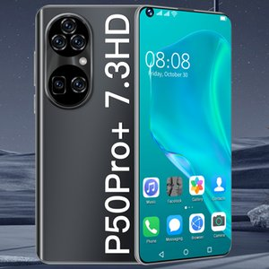 P50ProMax Phones Newest 7.3 Inch Smartphone Android 10.0 12GB RAM 512GB ROM 6800mAh Big Battery Deca Core CPU Mobile Phone 24+48MP Rear Cameras